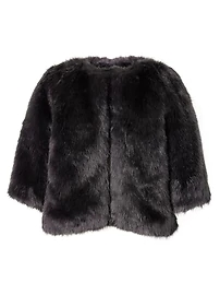 banana faux fur cape