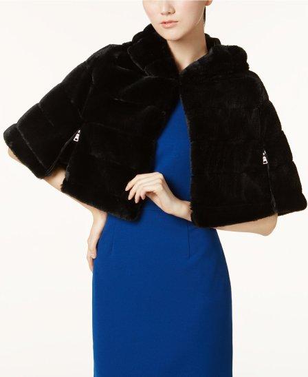 bj faux fur hooded cape