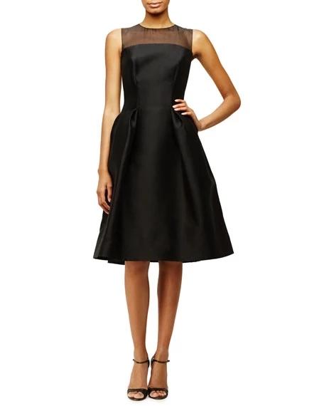 CH Sleeveless Sheer Yoke Cocktail Dress