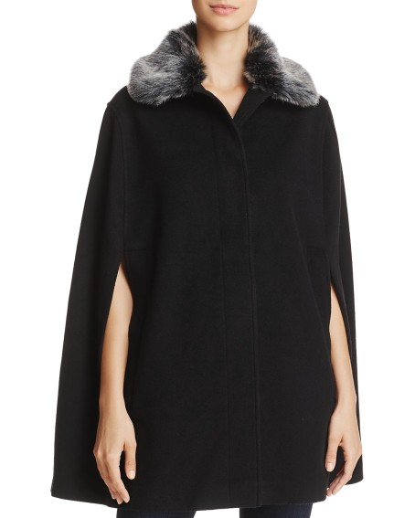 helene berman black faux fur cape