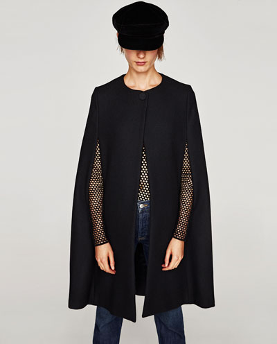 zara long cloth cape