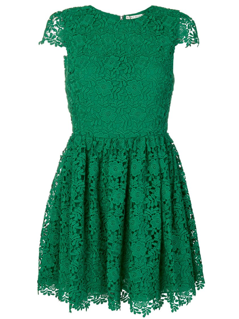 alice olivia lace embroidered shift dress