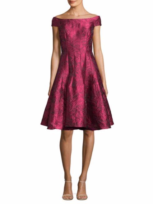 Carmen Marc Valvo Off the Shoulder Floral Lace Dress