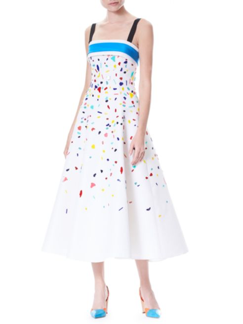 CH Confetti Embellished Silk Faille Cocktail Dress