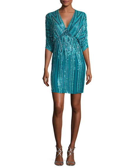 Jenny Packham Zigzag Beaded Dolman Cocktail Dress
