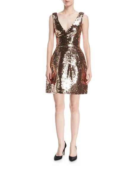 ML Sequined V Neck Cocktail Dress
