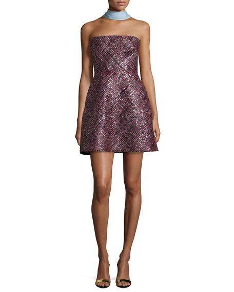 ML Strapless Sequined Cocktail Dress