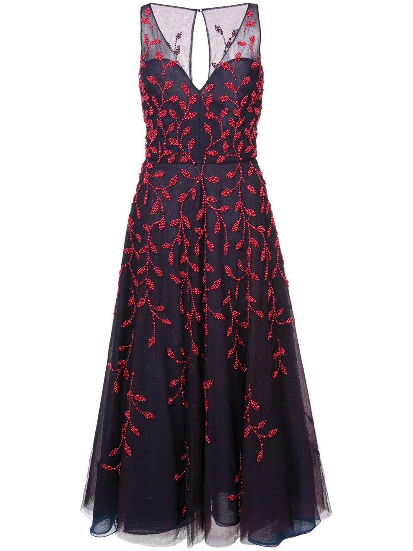 Oscar De La Renta Leaf Embroidered Dress