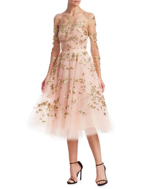 Oscar De La Renta Sequin Illusion Cocktail Dress