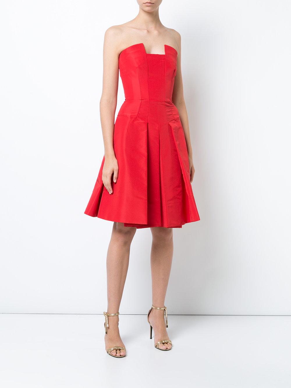 Oscar De La Renta Strapless Flared Dress