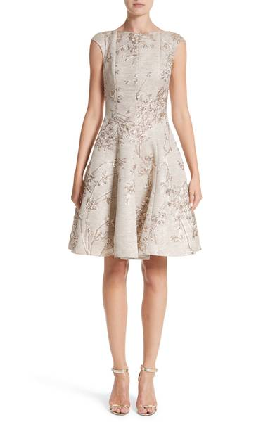 Talbot Runhof Metallic Twig Jacquard Dress