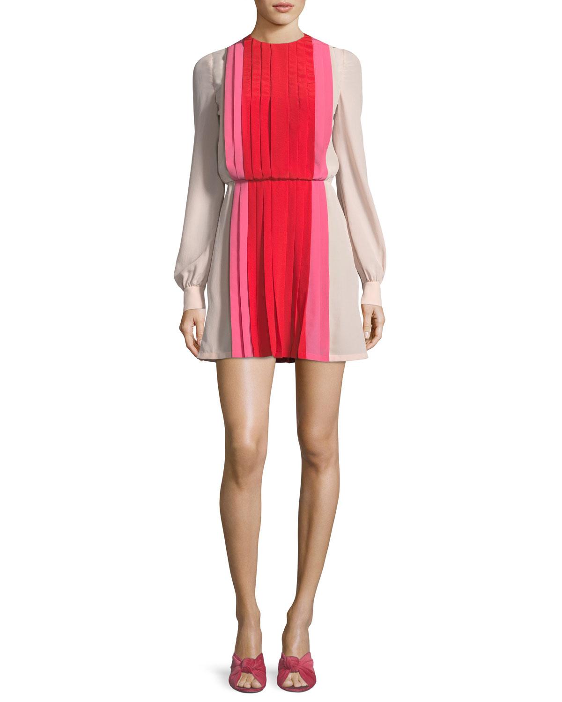 Valentino LS Pleated Crepe de Chine Colorblock Mini Dress