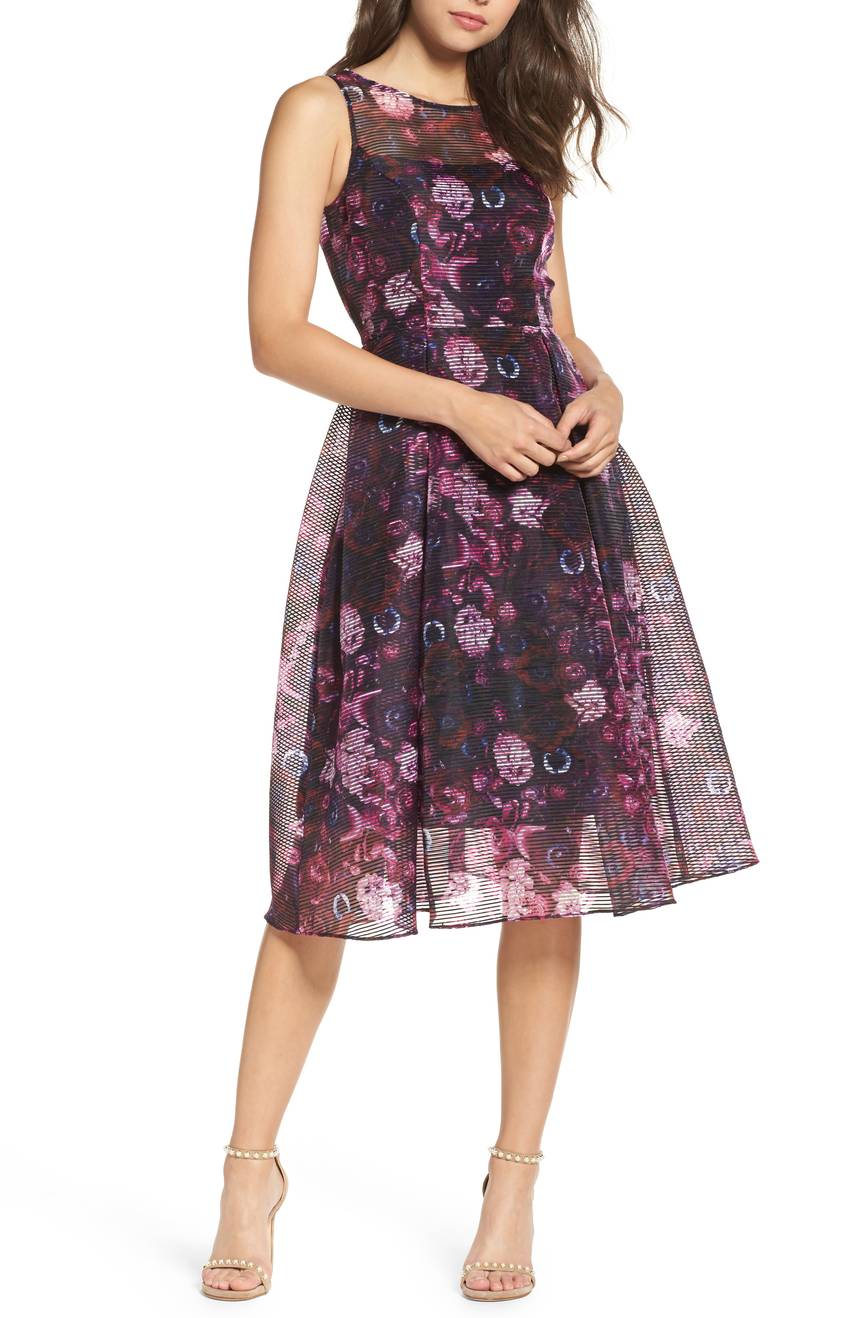 Adrianna Pappell Fit and Flare Dress with Illusion