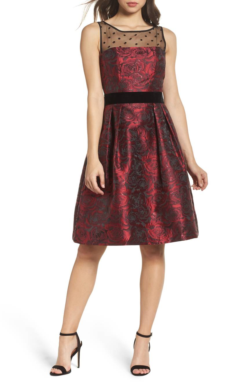 Eliza J Jacquard Fit and Flare Dress with Illusion Neckline