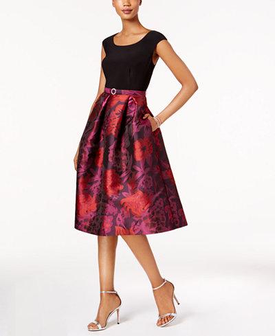 R M Richards Belted Floral Brocade Fit & Flare Dress