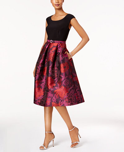 R M Richards Belted Floral Brocade Fit & Flare Dress